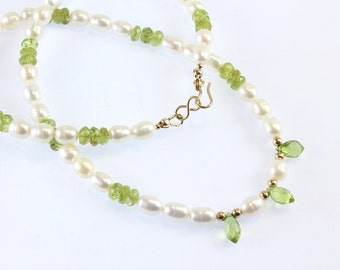 Peridot and Pearl Necklace, August Birthstone, June Birthstone, Freshwater Pearls, Gold Filled