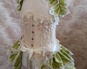 SALE Costume Silk  Bustle and Shrug set.  Free Flower Pins  Lolita Cosplay