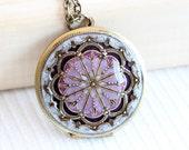 Locket,Purple locket,filigree locket ,resin locket,Bridal Necklace ,bridesmaid gift ,Wedding Necklace,Something Blue,Locket