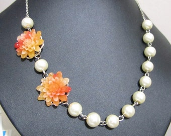 Pearl necklace, ivory pearl necklace with orange flower, pearl necklace, bridal necklace, bridesmaid necklace
