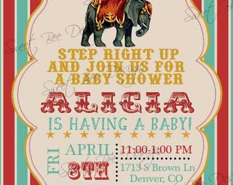 Circus Baby Shower Invitation , Circus Birthday Invitation - Custom Printable