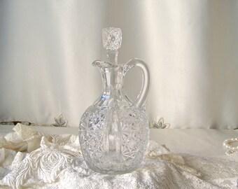 Vintage Leaded Crystal Cruet Oil Cruet Kitchen Cruet Glass Cruet Vinegar Cruet Kitchen Decanter 1960s