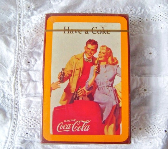 vintage deck of cards coca cola sealed cards by cynthiasattic. Black Bedroom Furniture Sets. Home Design Ideas