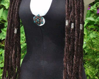 Deep Chocolate Dread Falls with Silver Beading