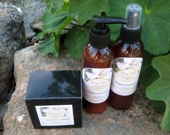 All Natural Bergamot Coriander  Body Creme Body Spray Soap  Paraben Free Aromatherapy  3PC Set