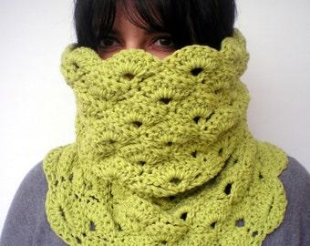 Mostard Green Flower Neckwarmer Hand Crocheted Cowl Super soft    Woman Cowl NEW