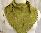 Apple Green Alpaca and Wool Chevron Pattern Shawl