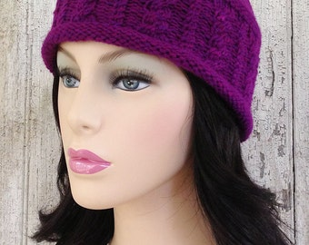 Deep Magenta Hand Dyed Yarn Cabled Cap