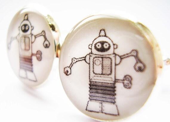 Robot Cufflinks, Android Cufflinks, Sci Fi Cufflinks, Science Fiction Cufflinks, Retro Robot Cufflinks, Retro Science Cufflinks, Cuff links