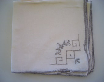 Vintage Napkins Beige Cotton with Taupe Embroidery Geometric 4 Pieces