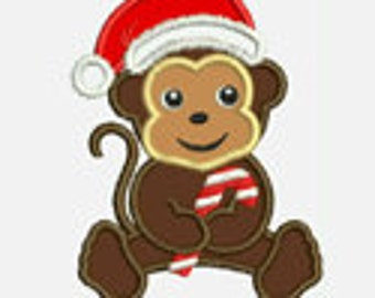 Monkey Boy Christmas...Embroidery Applique Design...Three sizes for multiple hoops...Item1566.. INSTANT DOWNLOAD