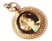 Antique Victorian Rolled Gold double sided Lady es photo Portrait locket Pendant E712-13
