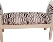 SALE Wavy Geometric Zebra Bench with Storage