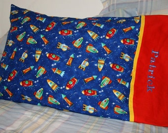 Rocket Ships and Space Pillowcase, Blue, Red, and Yellow Custom Embroidered Pillowcase