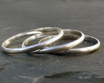 Stack Rings - Recycled Sterling  Silver  Handmade Stackable  Rings -  Set of 3