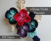 PDF Pattern Crocheted African Violet Bracelet  - Crocheted Bracelet Tutorial - Last Minute Gifts Series - Instant download, crochet jewelry