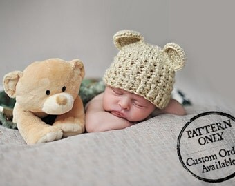 Crochet Pattern - High Country Beanie Hat With or Without Ears (Newborn to Adult) with Crochet Flower