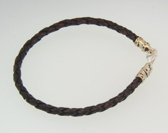 Braided Leather Cord Necklace Sterling Silver Findings