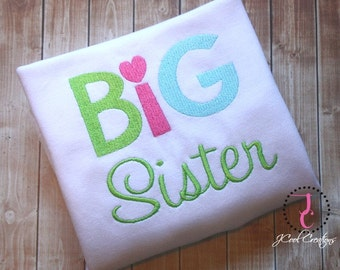 Big Sister Little Sister Embroidery Design - Machine Embroidery Design, Big Sister Embroidery Design, Little Sister Embroidery Design, 5x7