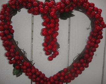 Valentine Decor       Berry Heart Wreath    Valentine Wreath   Red Berry wreath  Heart Shaped Wreath  Anniversary Wreath  Heart Wreath