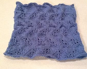 Hand knit lacy cowl blue turquoise