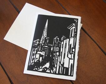 Transamerica Building Greeting Card - San Francisco, CA - Woodcut Style - San Francisco Art, SF Art, Building Art, City Art, Black and White