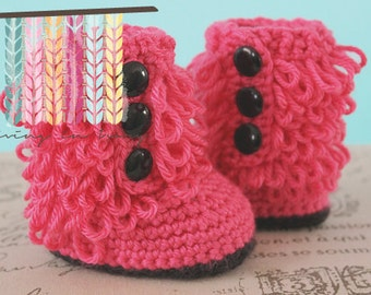 Furry Boots Crochet Baby Booties - CUSTOM OPTIONS AVAILABLE