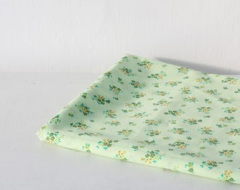 Vintage retro fabric light green floral 50s large