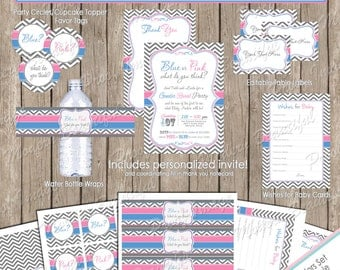 Gender Reveal Invitation Party Package, blue and pink, chevron invitation, printable, digital file, (PARTIAL INSTANT DOWNLOAD) genderreveal2