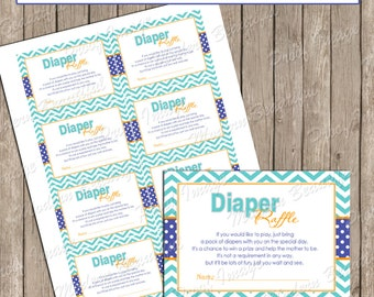 "Diaper Raffle- Blue, Teal and Orange Chevron ""Diaper Raffle Card"" - Baby Shower Invitation Insert Card - lm1 INSTANT DOWNLOAD"