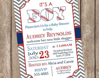Vintage Style Chevron it's a boy baseball baby shower invitation, red, blue, grey, baseball, printable invitation  baseball1