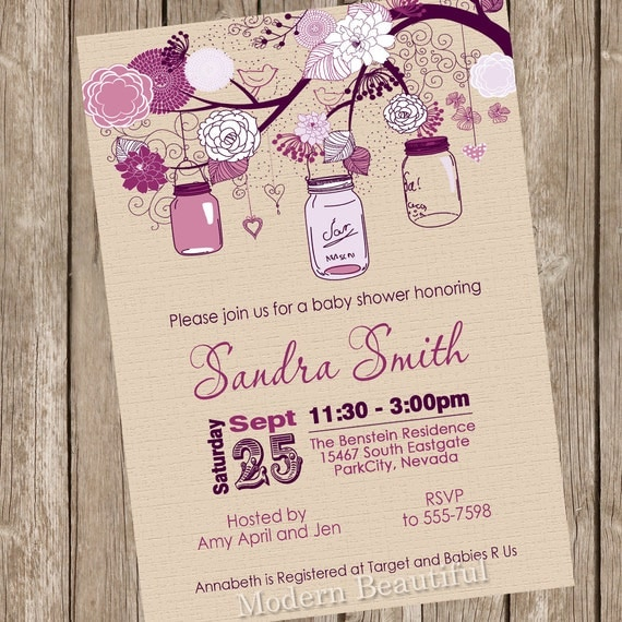 rustic mason jar baby shower invitation mason jar baby shower pink