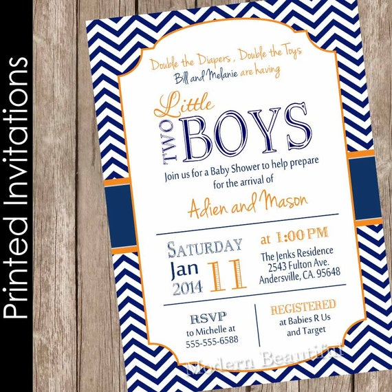 printed twin boys baby shower invitation, navy and orange, chevron, Baby shower invitations