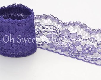 "3"" Floral Lace Purple 10 Yards"