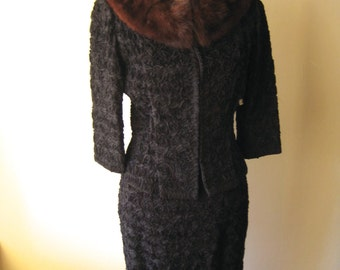 Vintage Maggie Chase Jacket and Skirt - Black with Mink Collar