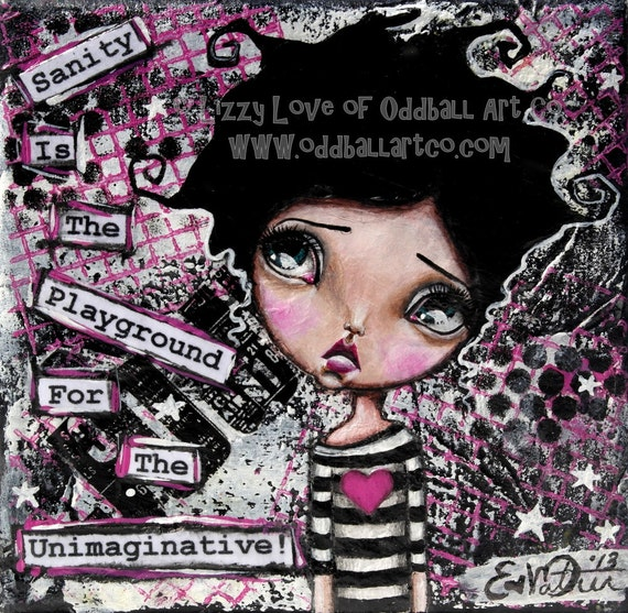 Mixed Media Girl Big Eye Giclee Art Print Signed Reproduction Imagination by Lizzy Love [IMG#61]