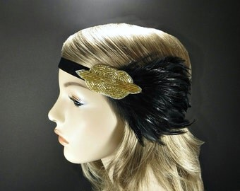 1920s Headpiece for Gold Flapper Costume Dress, Beaded Art Deco Headband, Great Gatsby Headband, Flapper Headpiece, Feather Headband