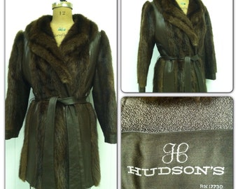 Vintage 1970s Coat Muskrat Fur Coat Jacket Boho Hippy Leather