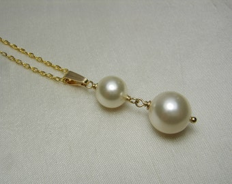 Pearl Bridesmaid Jewelry Pearl Bridal Necklace Swarovski Crystal Pearl Necklace Bridesmaid Necklace Gold Bridal Jewelry Wedding Jewelry