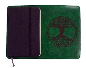 Moleskine Leather Notebook Cover [Large & Pocket Sizes][Customizable][Free Personalization] - Swirly Tree