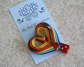 Rainbow Heart Ribbon Sculpture Hair Clip - No Slip Hair Clip