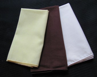 Lot of 3 Solid Color Cotton MENS Hankies