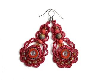 Red Terra Cotta Czech Glass Bead Tatting Lace Dangle Earrings