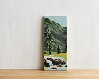 Paint by Number style Art Block 'Mountain Stream' - vintage, trees, river, landscape