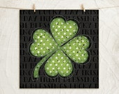 Clover II 12x12 Art Print -Saint Patrick's Day ,Holiday, Inspirational, Vintage, Wall, Gift, Home Decor -Clover -Green, White, Black