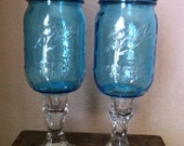 Redneck Wine Glasses-Vintage Blue Style-Clear Crystal Stems-Ready To Ship