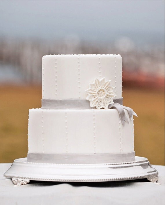 Best Seller Filigree Sugar Snowflake Wedding Cake Topper & Decoration, White Glittered Snowflake, Handmade to Order
