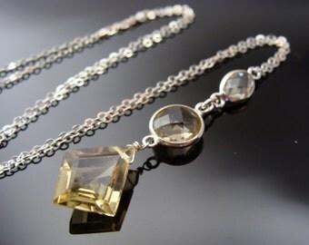 Lemon Quartz Bezel Set Sterling Silver Necklace