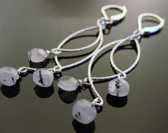 White Rulated Quartz Long Chandeliers Sterling Silver Earrings