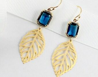 Gold Leaf Earrings Navy Blue Filigree Leaf Dangle Earrings Gold Blue Bridesmaid Gift Bridal Jewelry Leaf Charm Leaves Earring Blue Wedding